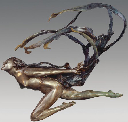 Wind Scarf Bronze Sculpture 25 in