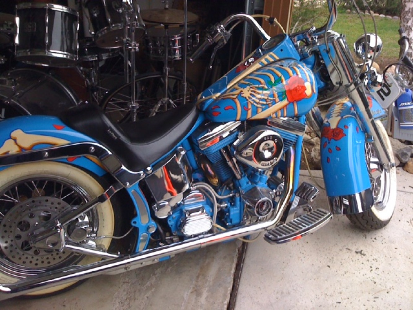 Harley Softail Motorcylce With Skeleton And Rose Grateful Dead Unique 24x48