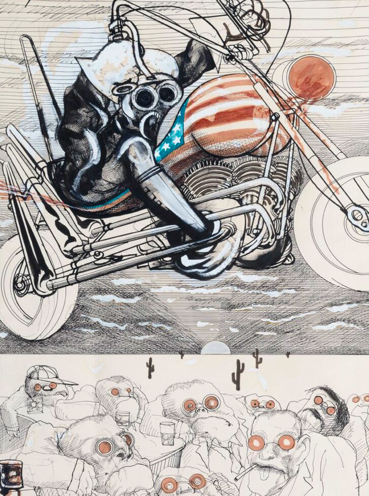 The Motorcyclist Drawing - Fear and Loathing! 1971 39x31