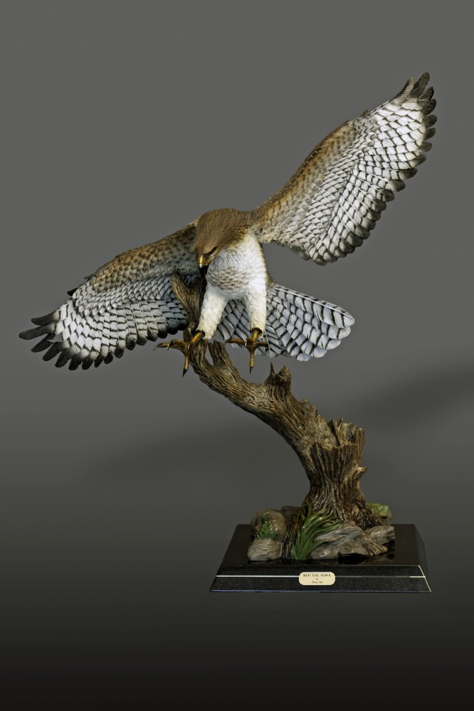 Red-Tailed Hawk Bronze Sculpture 2016 40x36