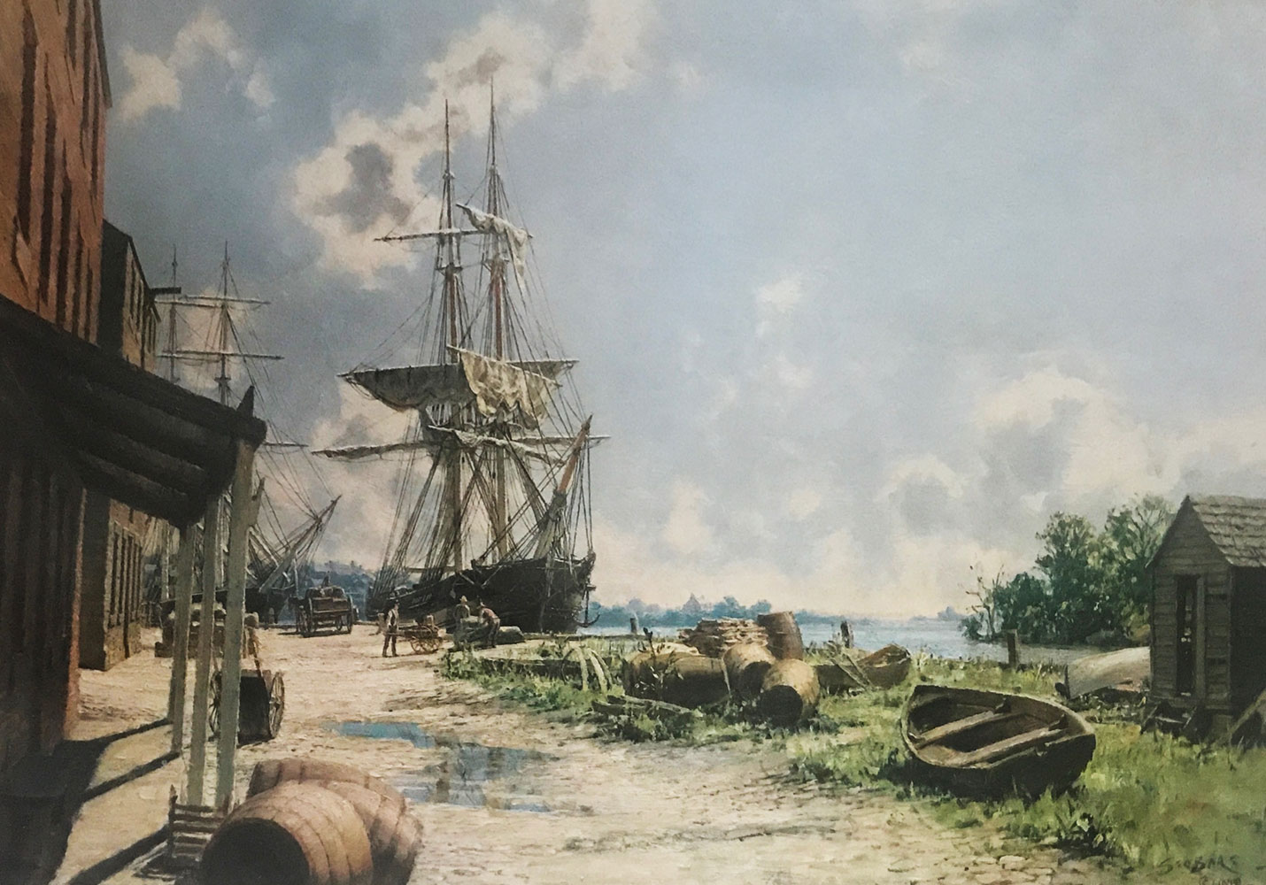 Georgetown: Vessels At the Potomac Wharf in 1842