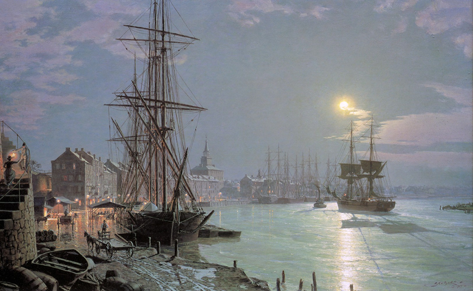 Savannah - Moonlight Over the Savannah River - 1850