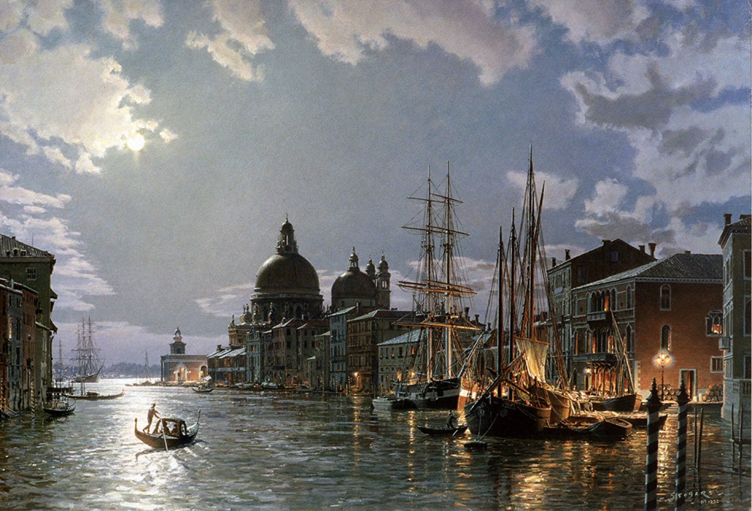 Moonlight Over the Grand Canal C. 1870