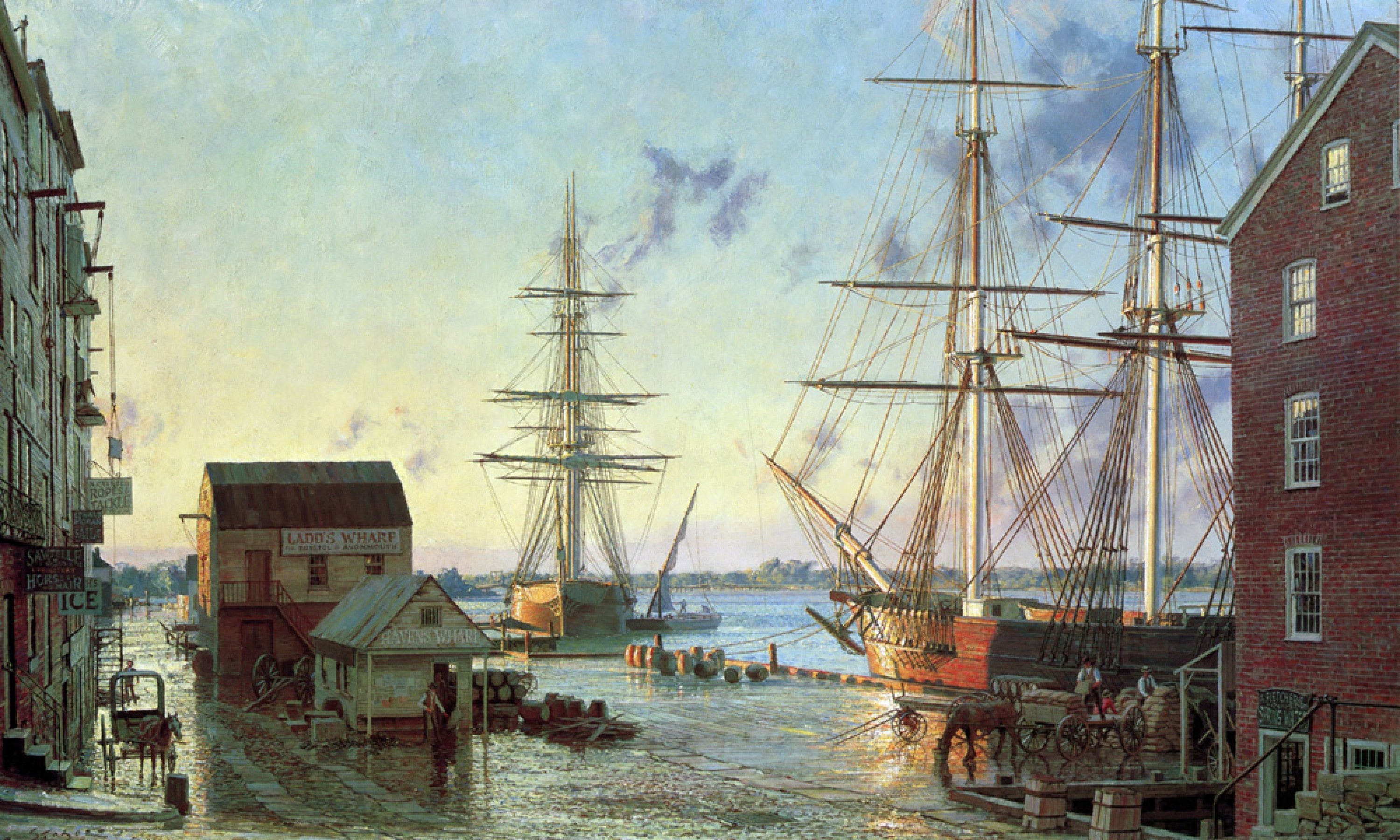 Portsmouth, Merchant Row Overlooking Piscataqua River 1828 1987