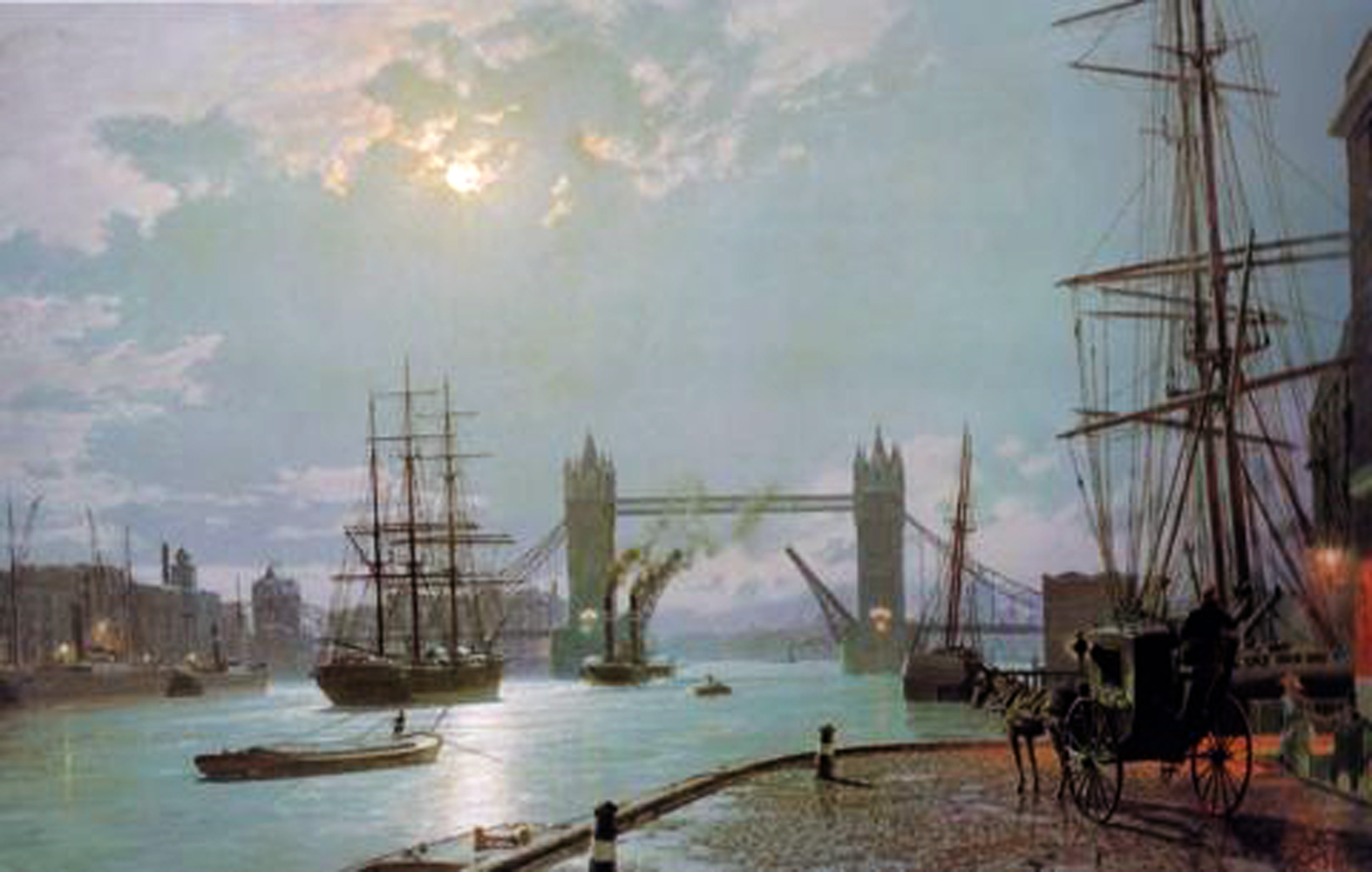 London: Moonlight Over the Lower Pool  1897
