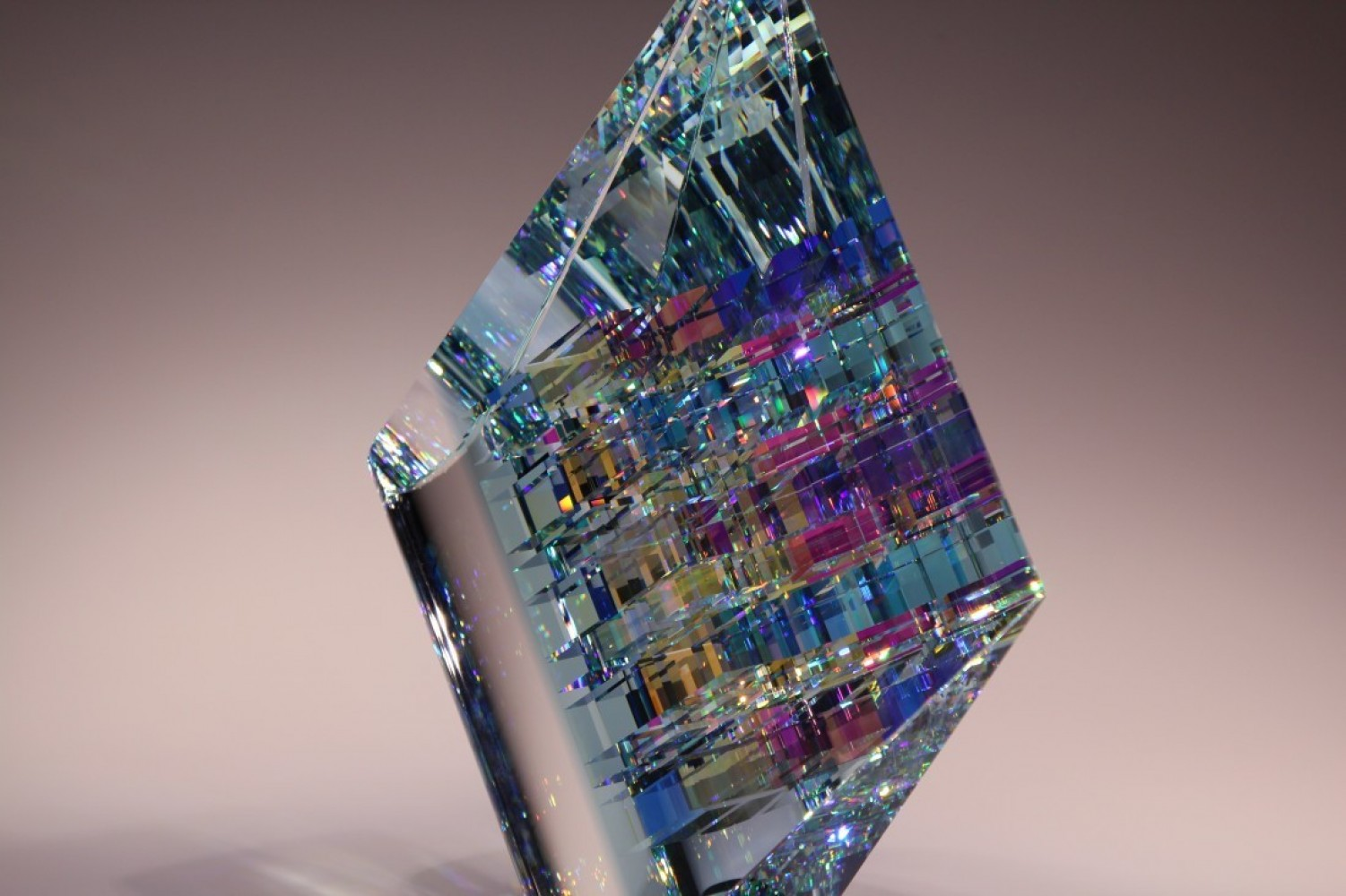 Medium Blue Arial Crystal Sculpture 2015