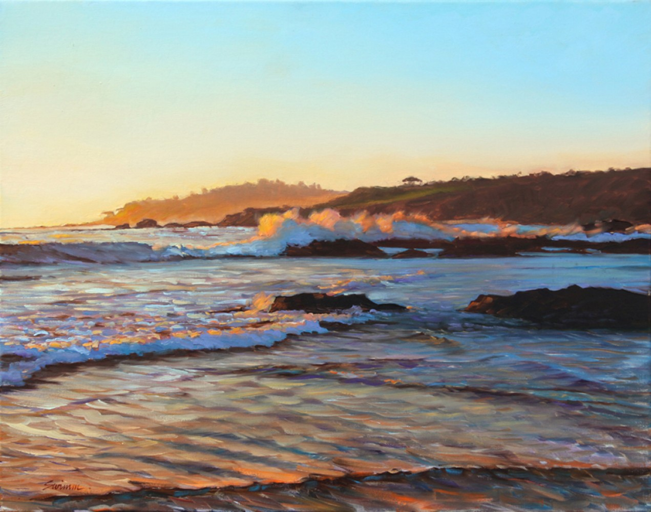 Pebble Beach Sunset 2010 22x28