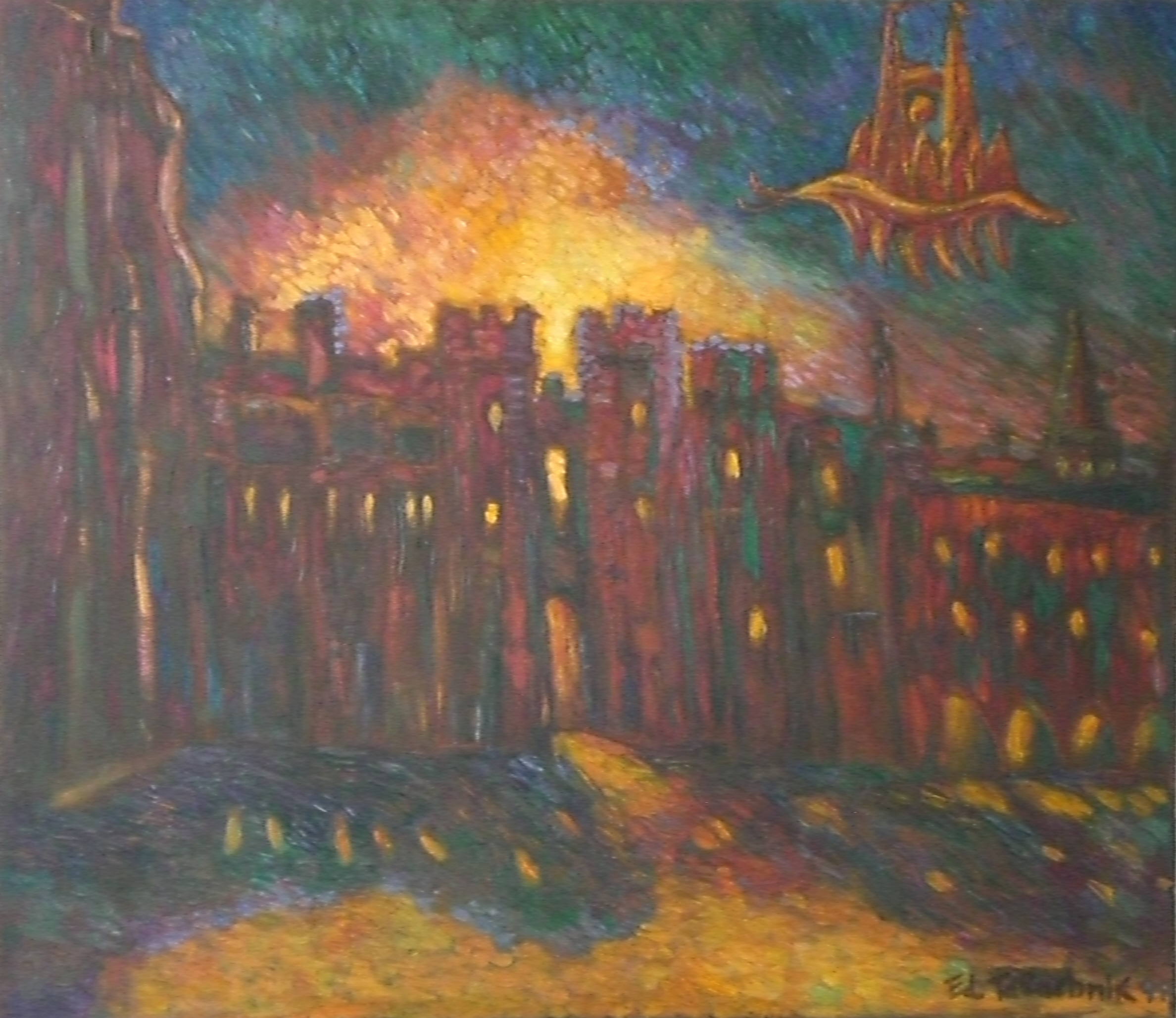 Windsor Palace in Flames 1994 28x12