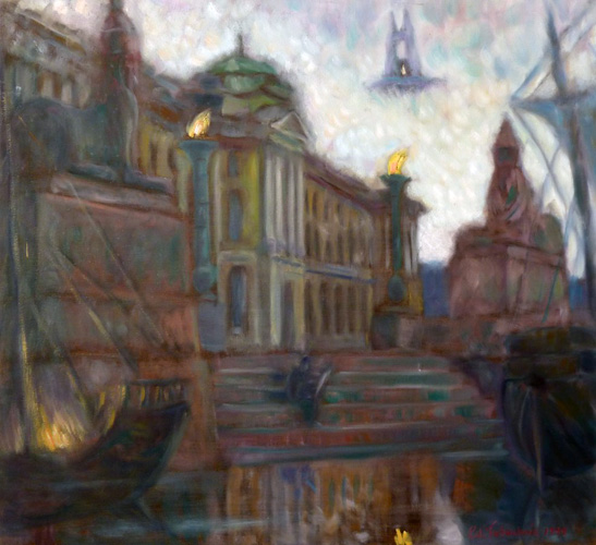 White Nights in St. Peterburg,  Sphinxes At Academy of Arts 1999 32x30