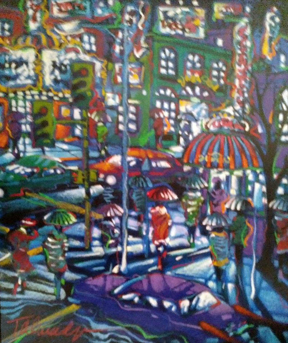 City Exploring And Rainy Night, Set of 2 Paintings  1996 29x25