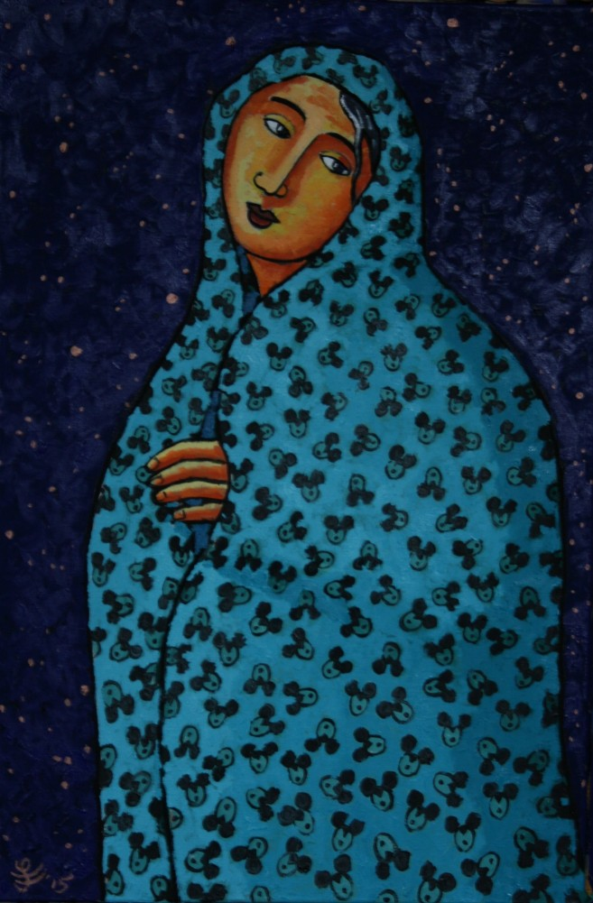 Refugee With Blanket 2016 35x23