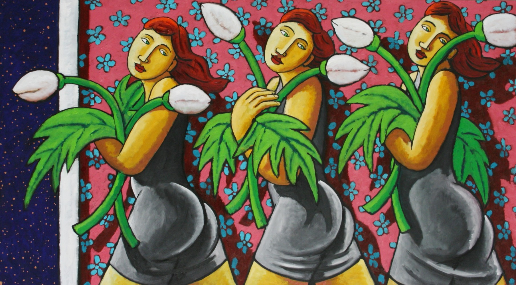 Blooming Ladies With Flowers 2016 39x70