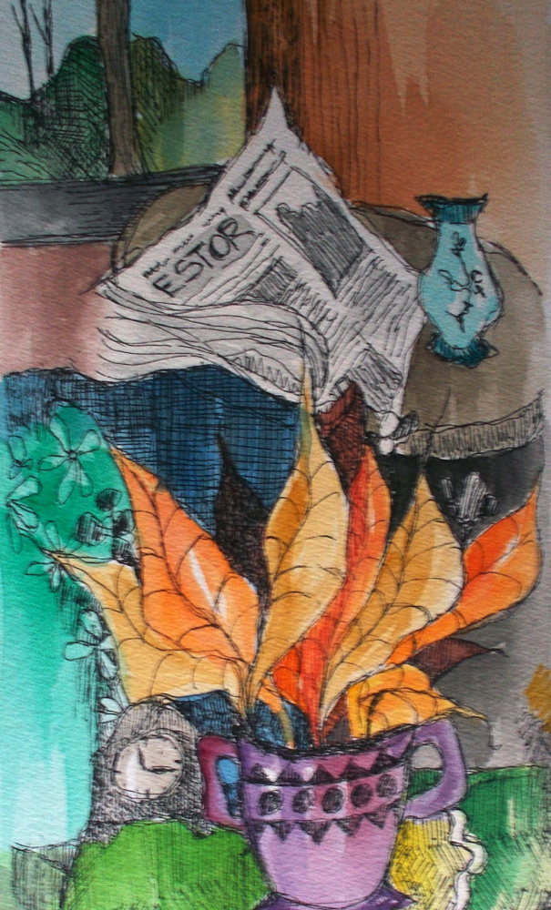 News And Tea Watercolor 2008 27x35