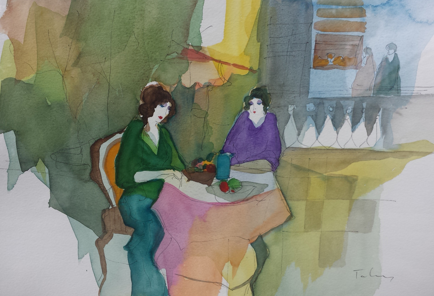 Terrace Luncheon Watercolor 29x25