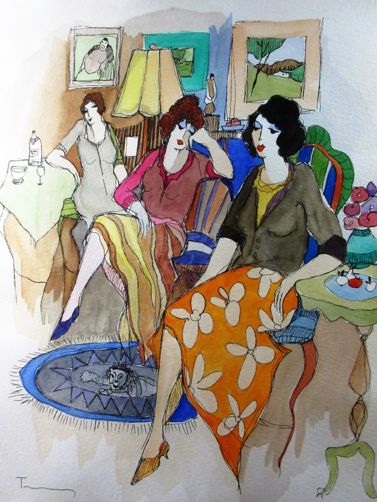 Untitled (Three Women, Interior) Watercolor 2006 18x14 2006