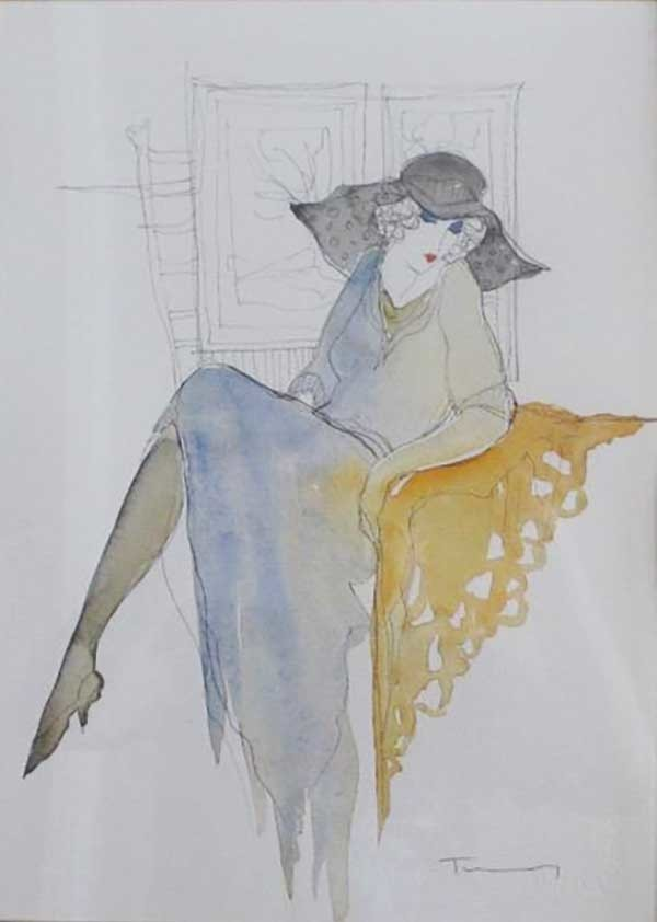 Untitled Lady Watercolor 2002 25x11