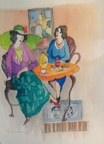 Untitled (Two Women Seated) Watercolor  2010 20x24