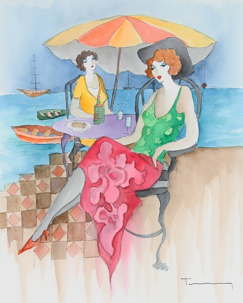Relaxation At the Beach Watercolor  39x34