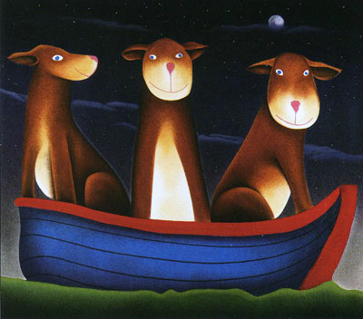 Three Dogs in A Boat 2002