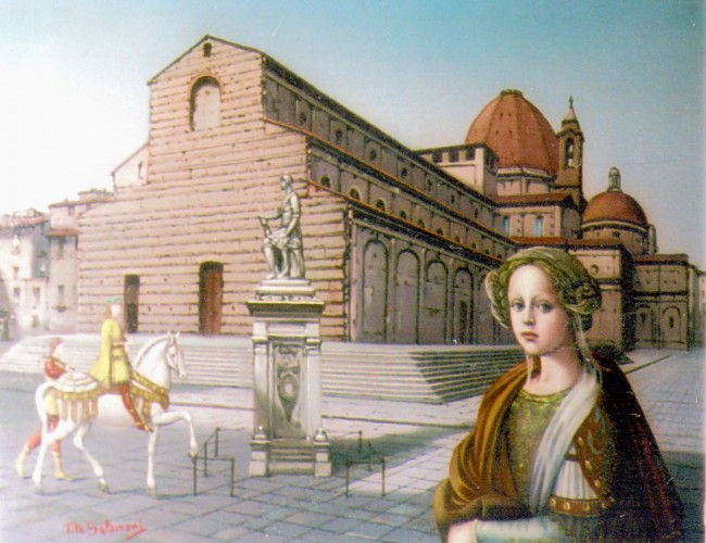 Medici Woman And Knight in San Lorenzo Square 16x20