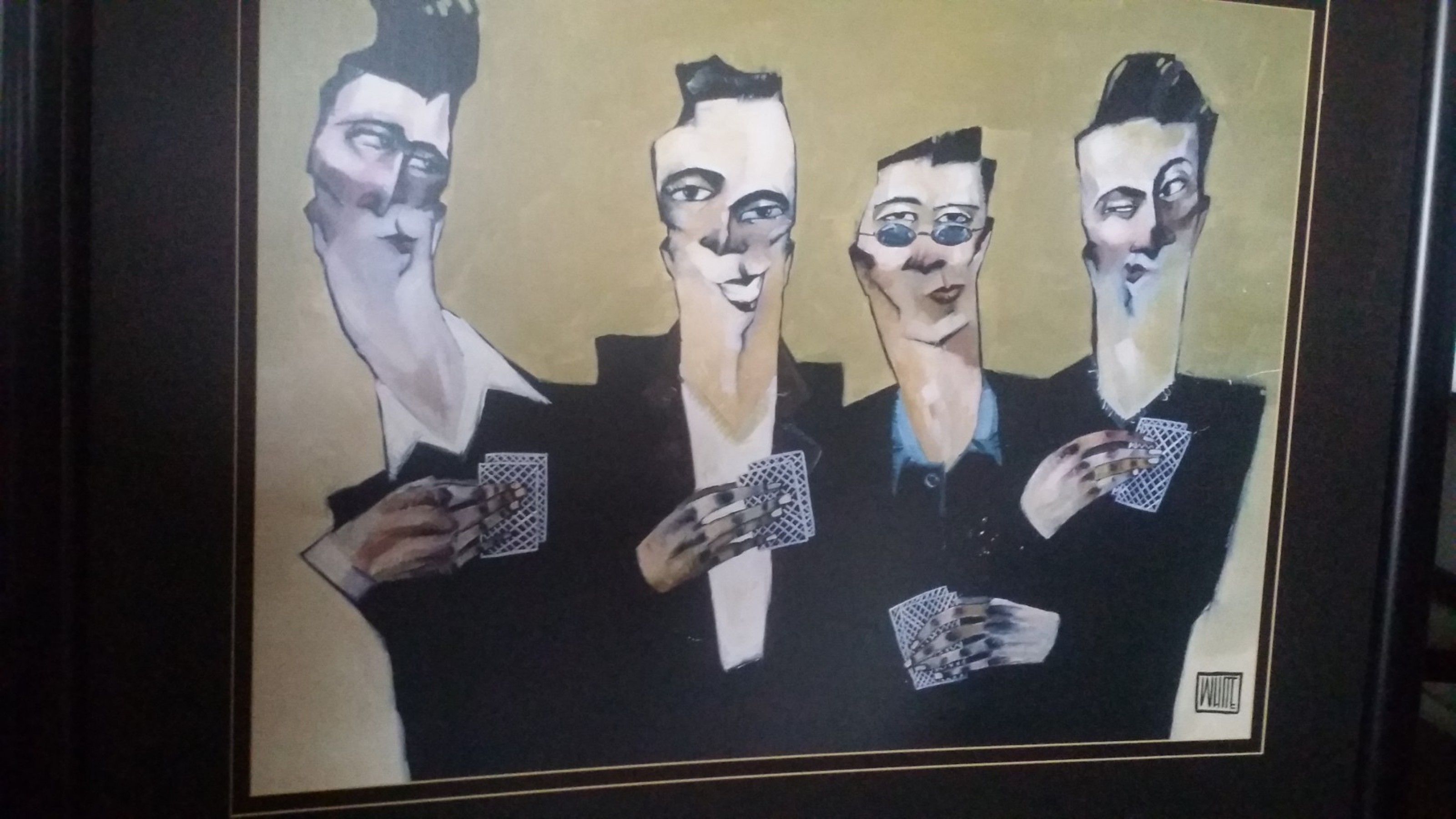 Guys And Cards Watercolor 2002 25x26