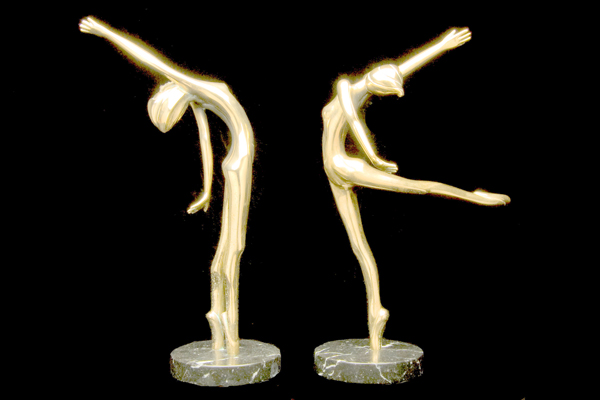 Carrie and Celeste Pair of Bronze Sculptures 1982 11 in