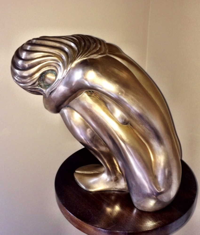 Solitude Bronze Sculpture 1980 14 in