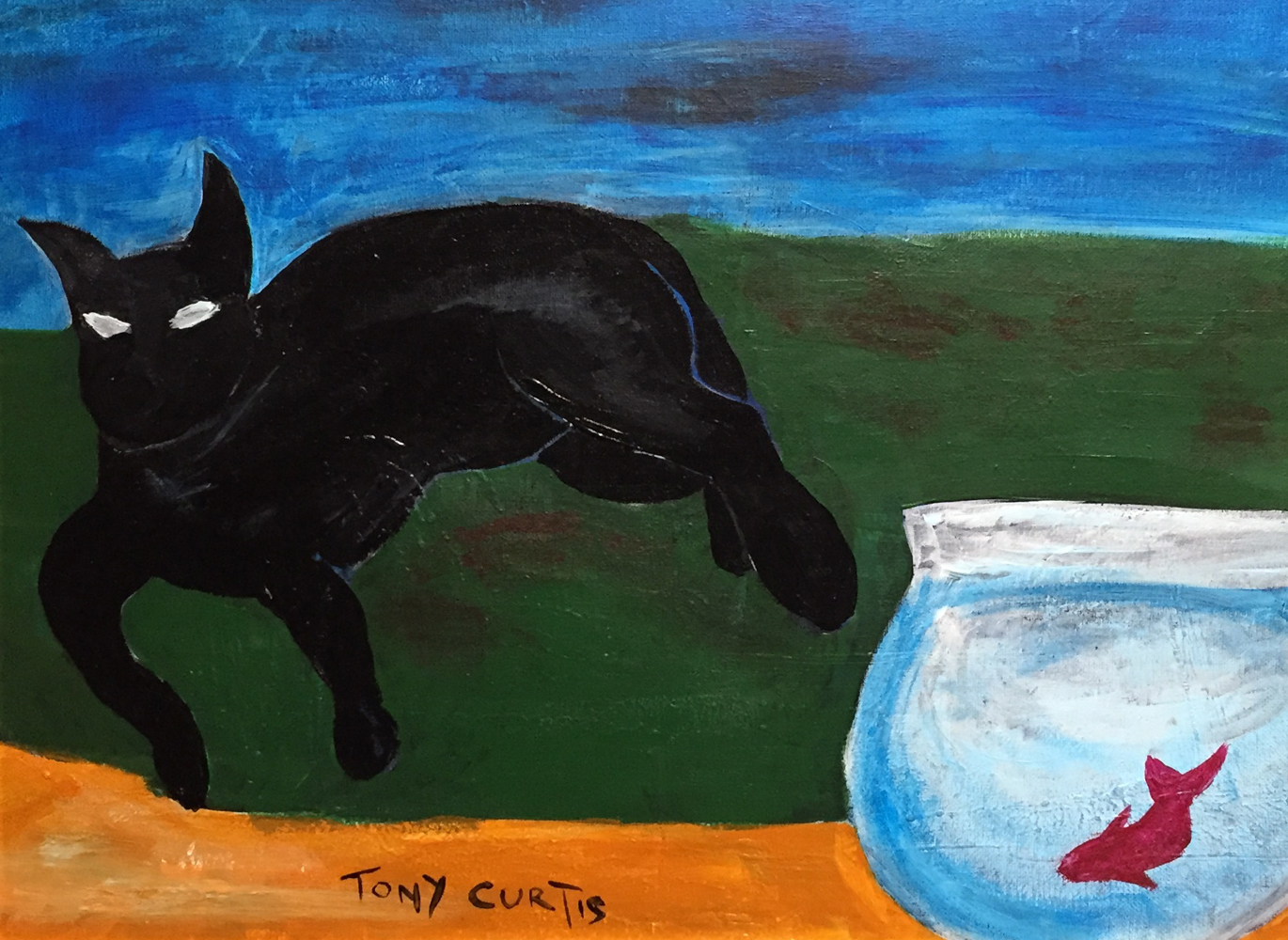 Cat Watching Fish  18x12