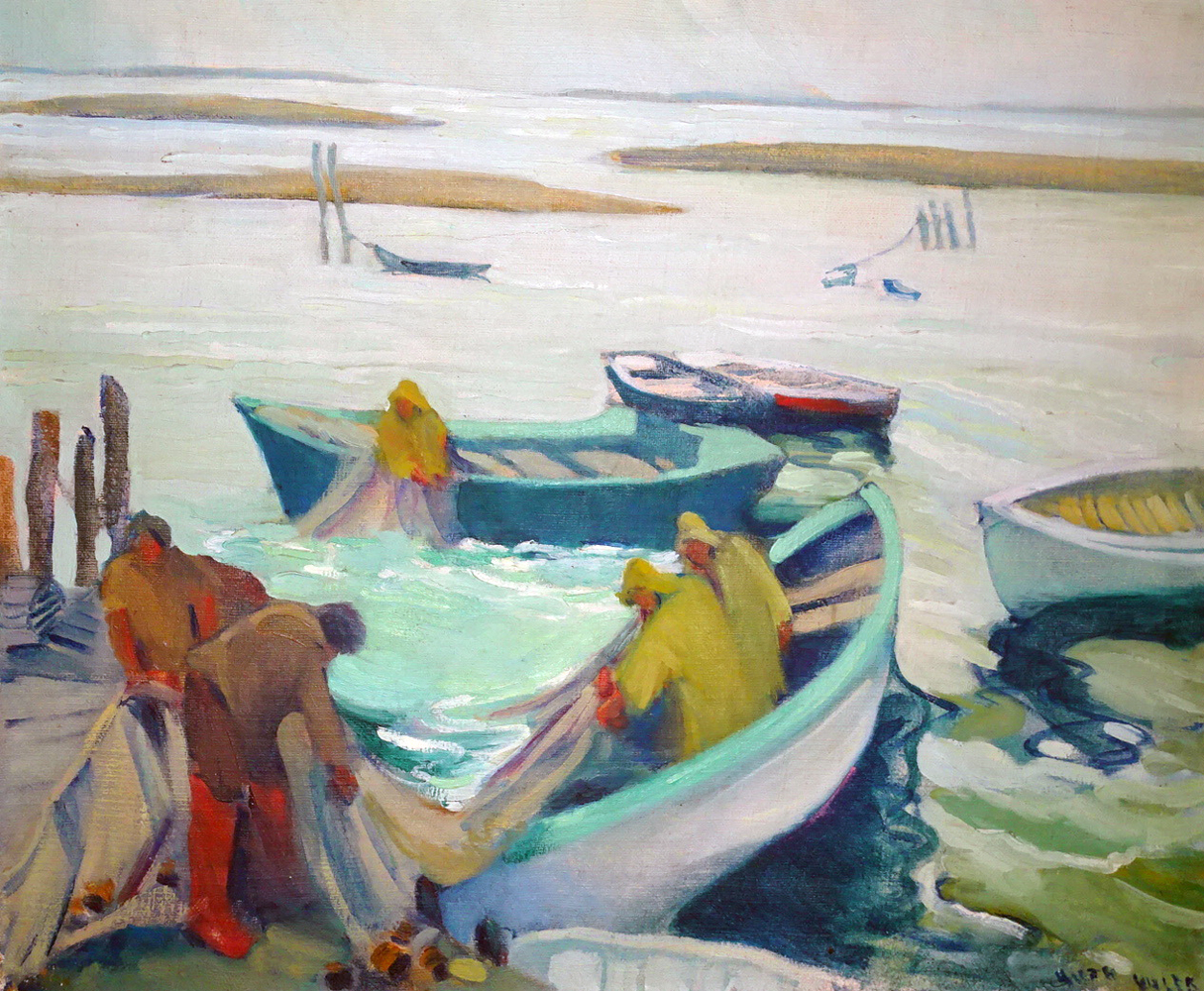 Fishing on the Maine 1920 31x36 by Ruth Pershing Uhler
