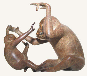 Orangutan and Baby Bronze Sculpture