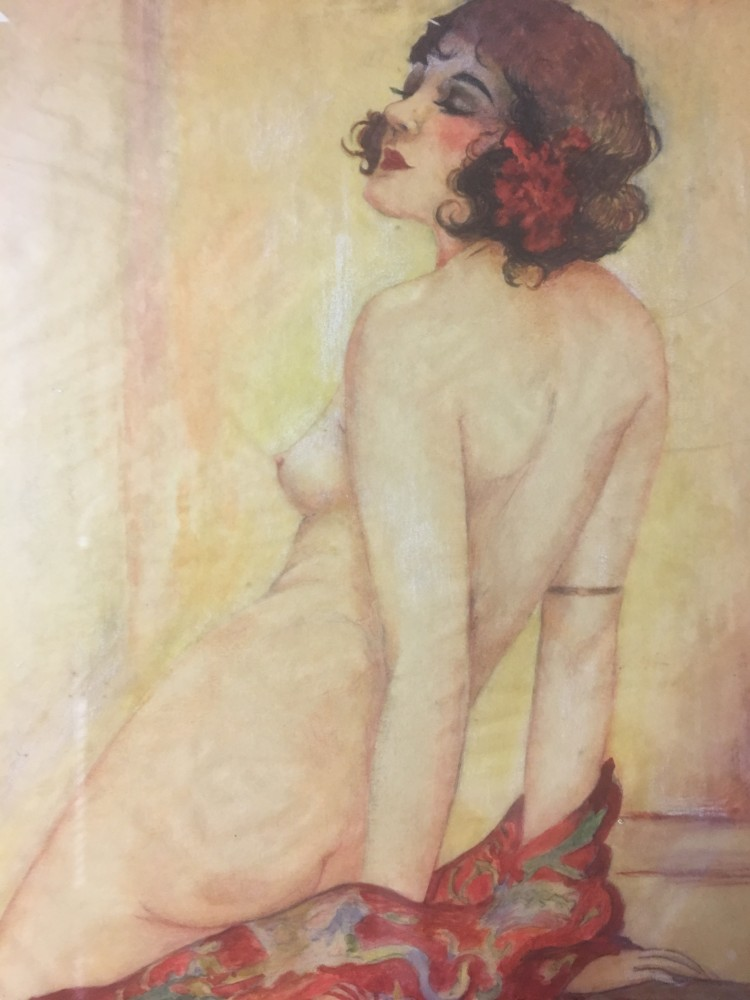 Study That Was Used to Create Memories of Olive Watercolor  14x10 by Alberto Vargas