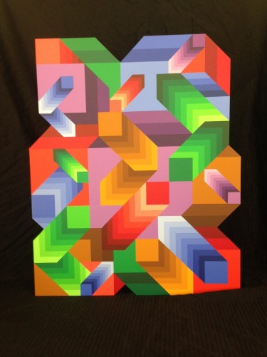 Malom Acrylic on Wood Sculpture 1980 by Victor Vasarely