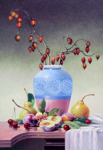 Blue Vase With Fruits 2010