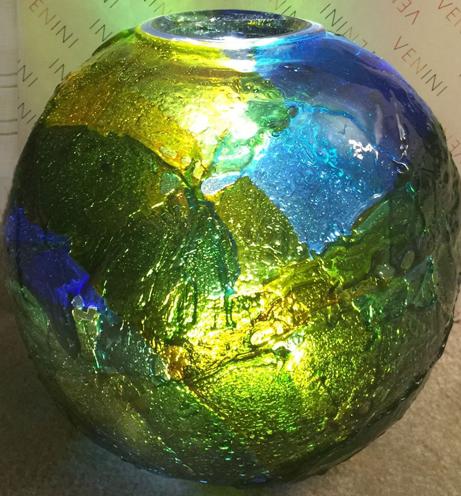 Geacolor Glass Sphere Unique Sculpture 2015