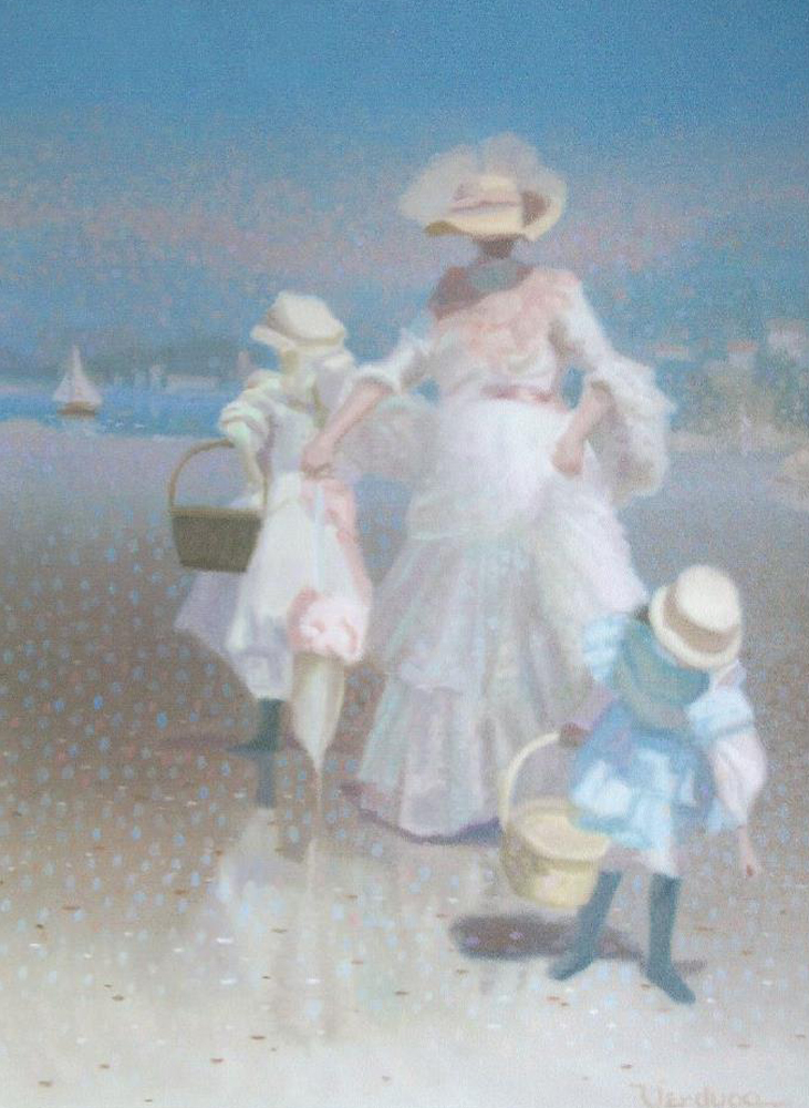 Shore-Side -  Woman With Two Children on Beach 1988 27x21