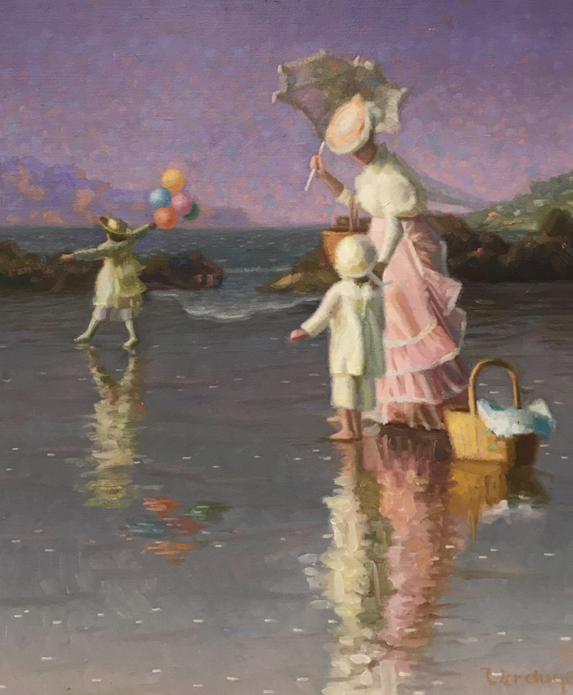 At the Seashore With Balloons 1989  40x60