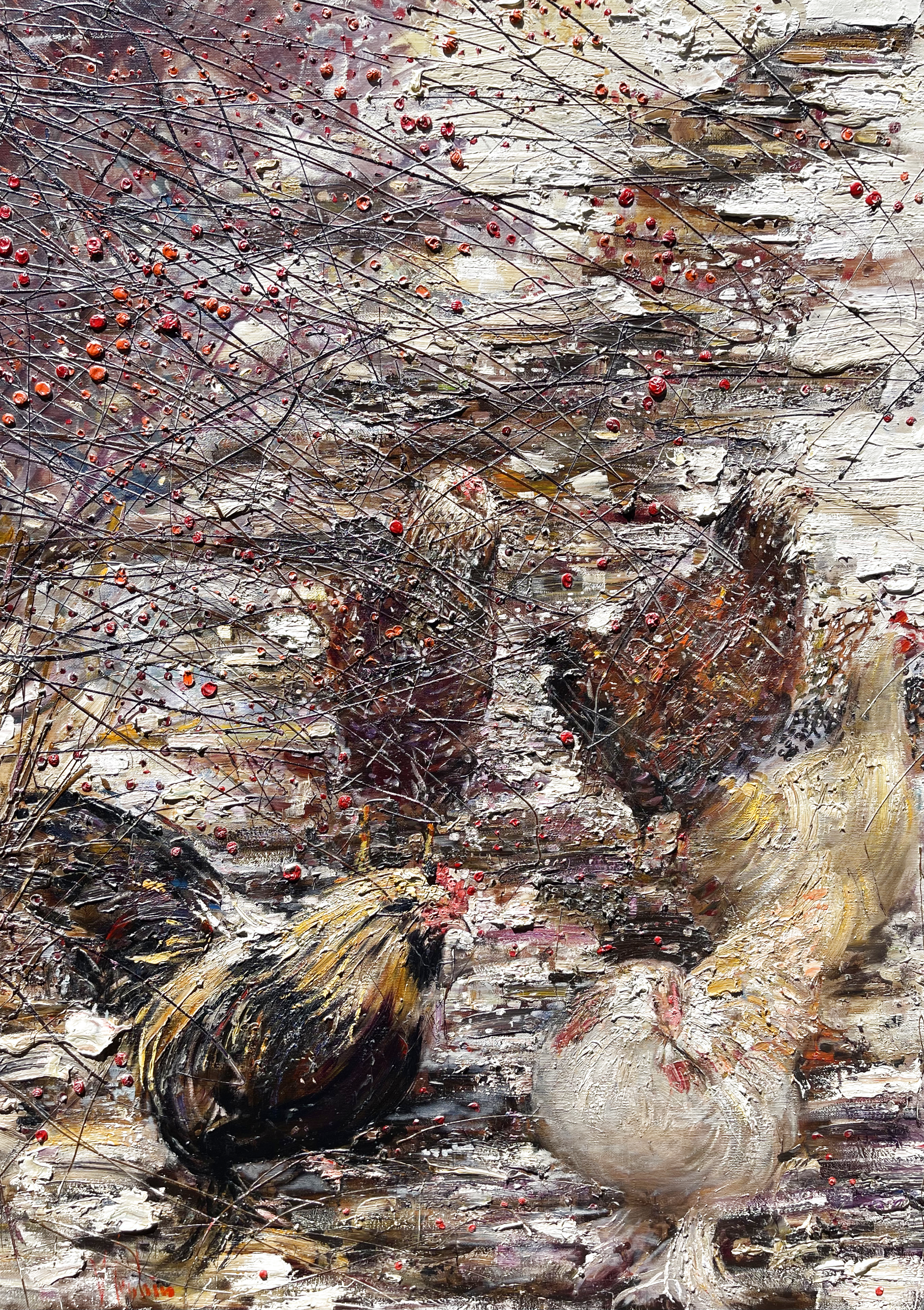 Chickens And Rowan 2011 70x50
