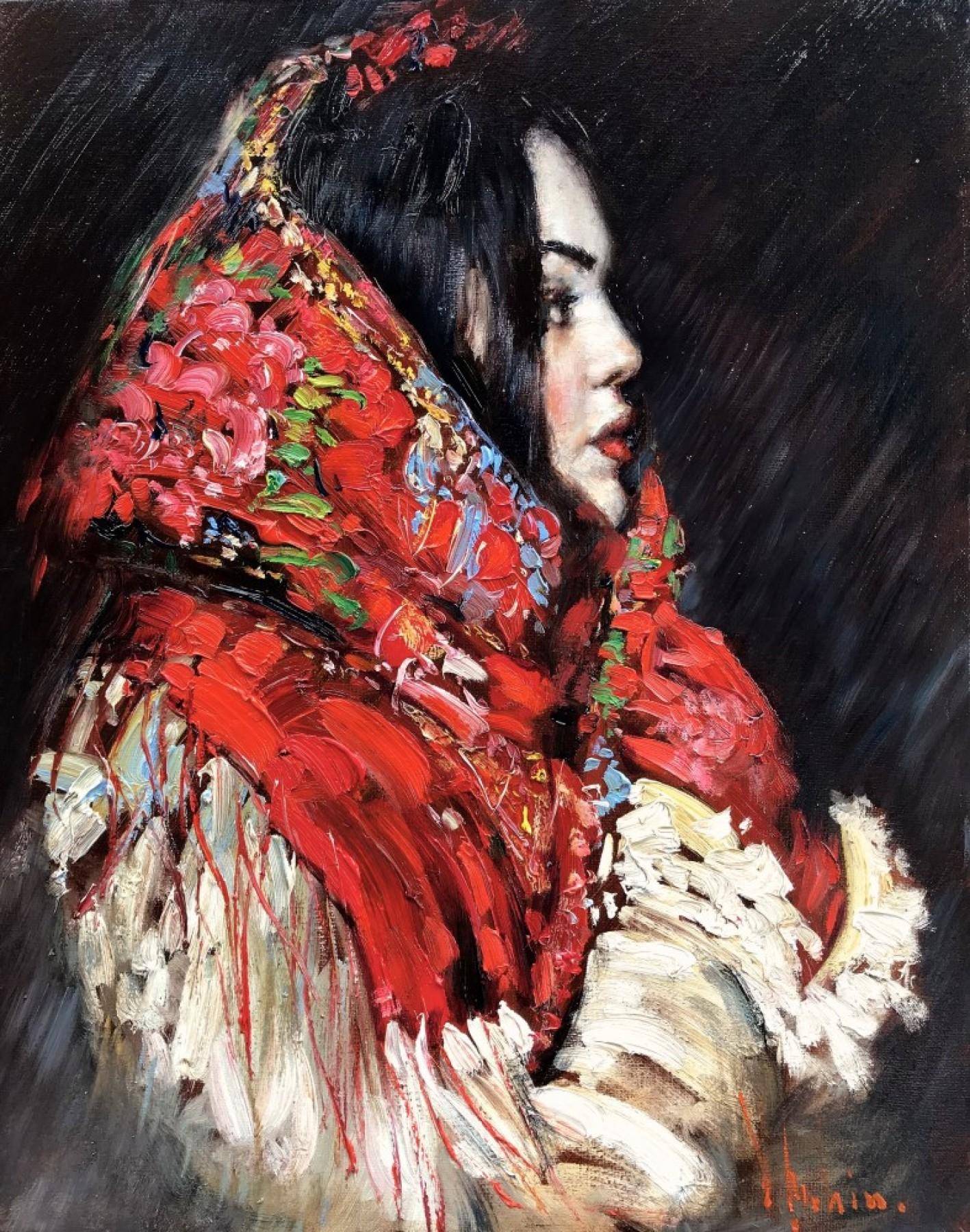 Red Scarf 2017 25x21