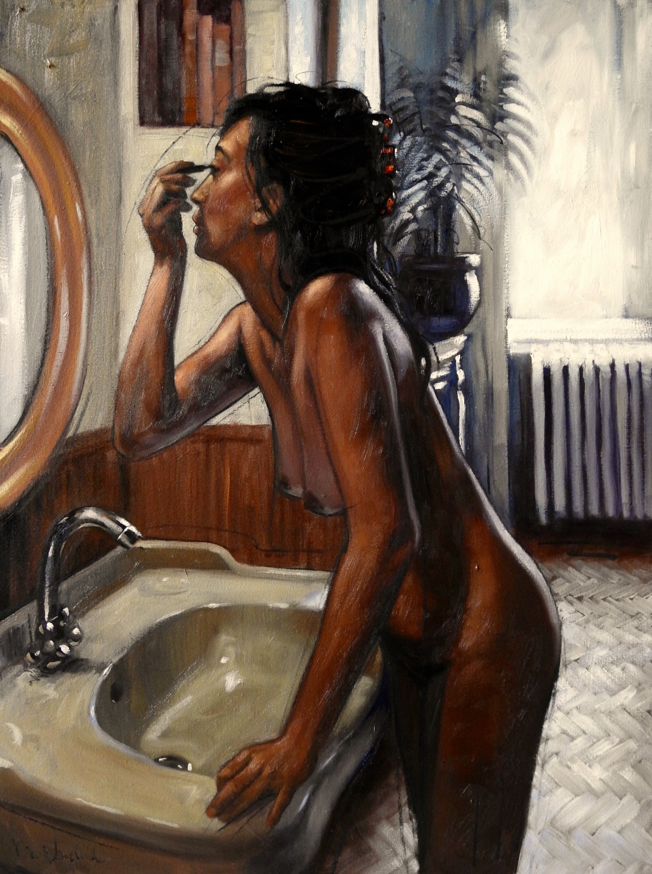 Woman Putting Her Make-Up On In Bathroom 2018 31x23