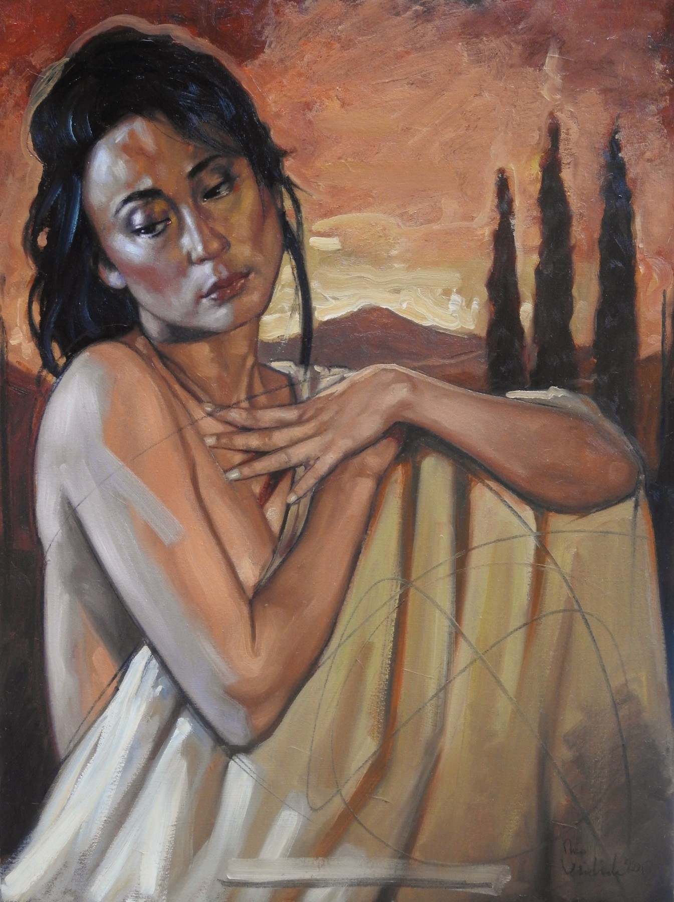Woman in Tuscany Evening Sun 2018 31x23