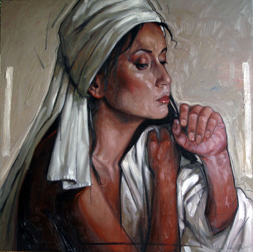 Portrait with White Head Cloth 47x47