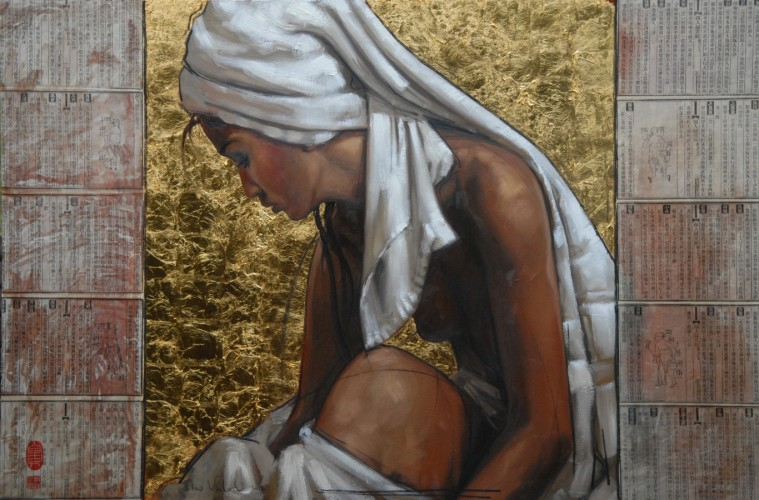 Woman With White Cloth 2012 31x47