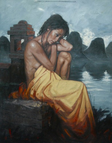 Girl Near the Temple 2011 59x44