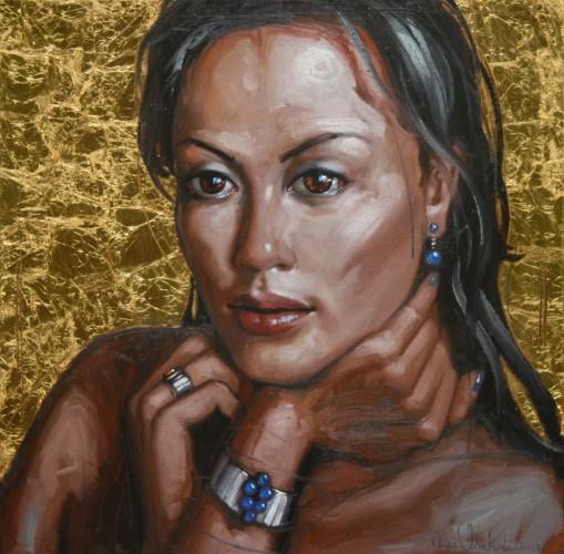 Untitled Woman with Gold 2012 23x23