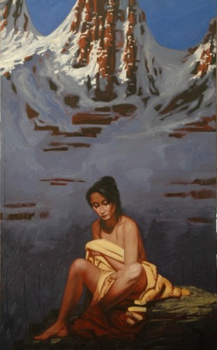 Woman in the Mountains 2007 51x32