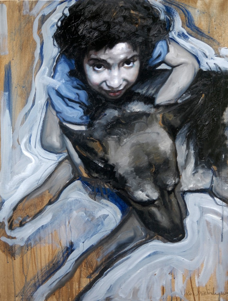 Girl And Her Dog 2015 35x27