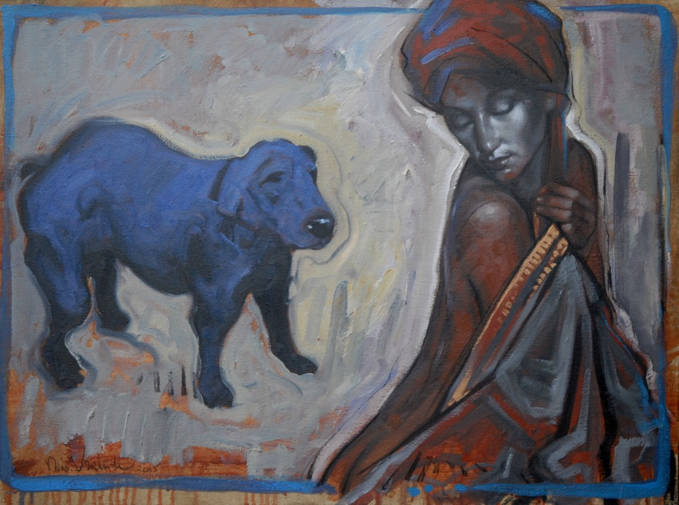 Portrait of a Woman With Blue Dog 2015 23x31