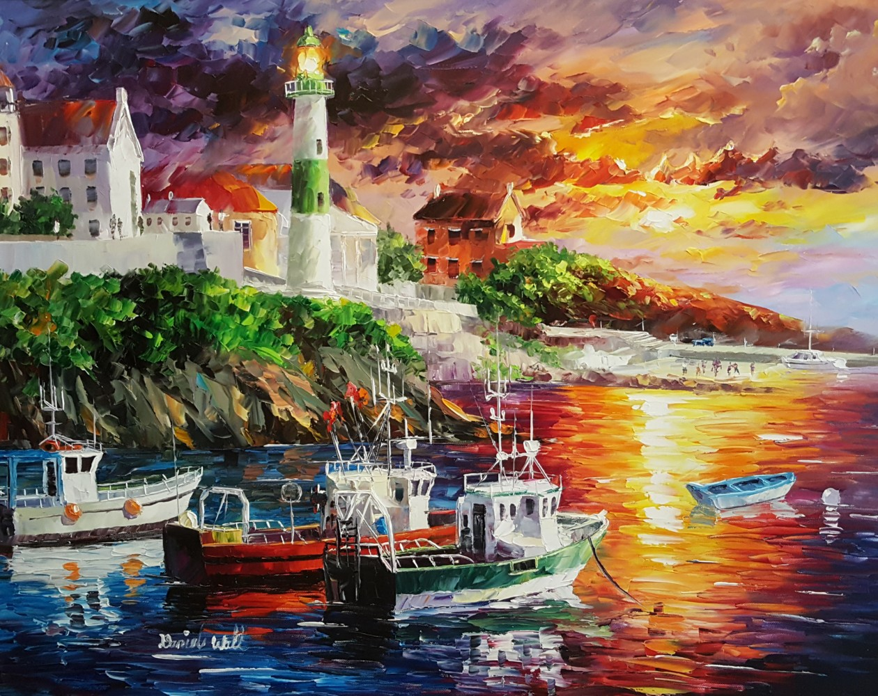 Harbor With Lighthouse 2012 41x34