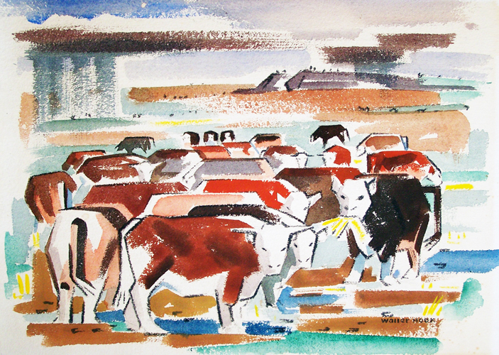 Cows Watercolor 16x20
