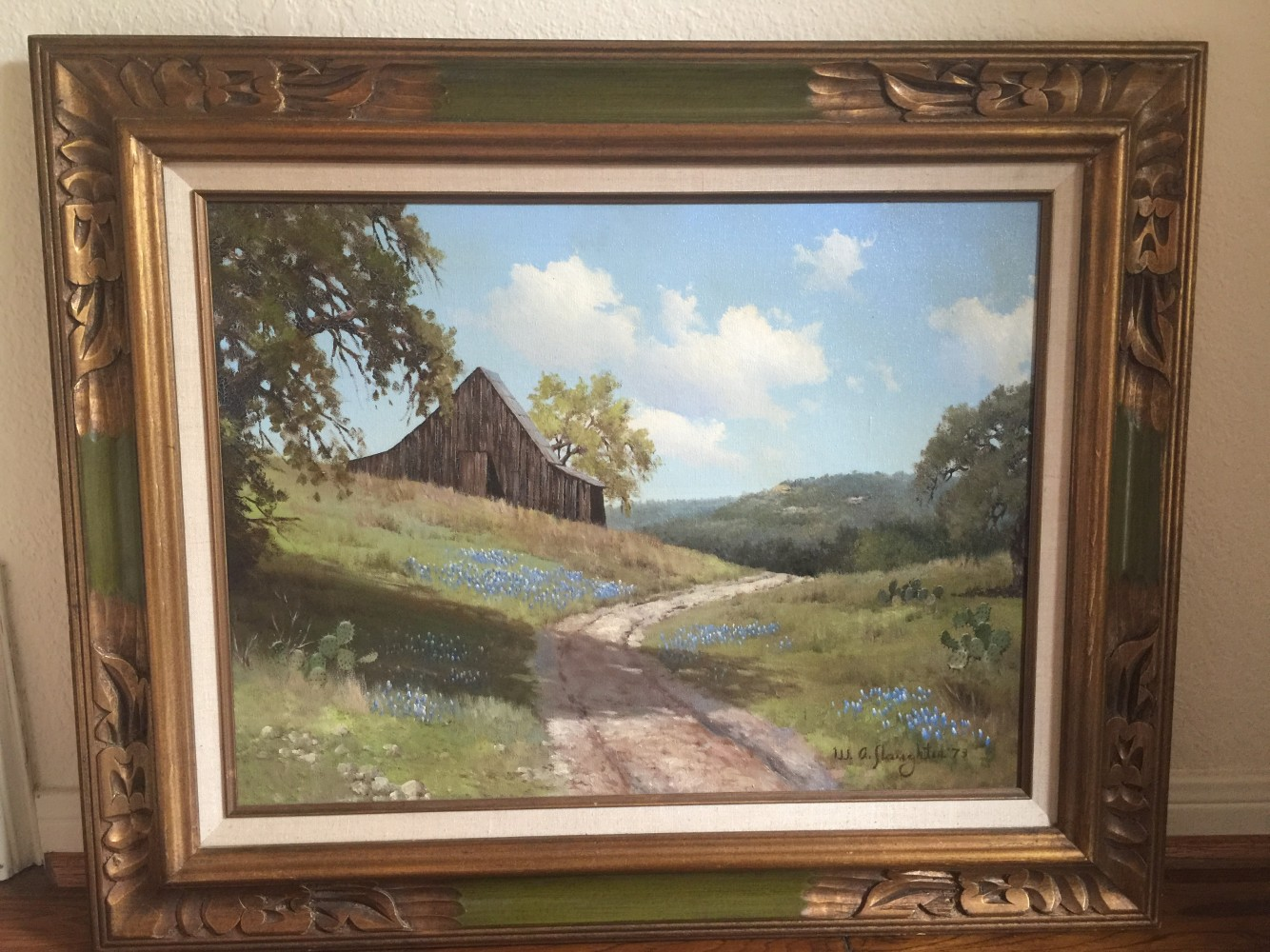 Bluebonnets With Road, Barn And Hills 1973 26x32